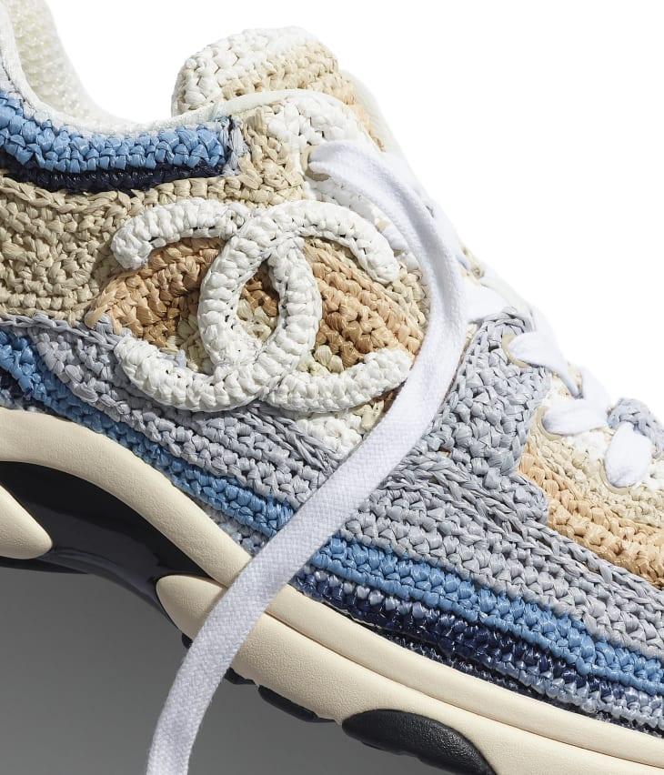 image 4 - Sneakers - Braided Raffia - Blue & Beige