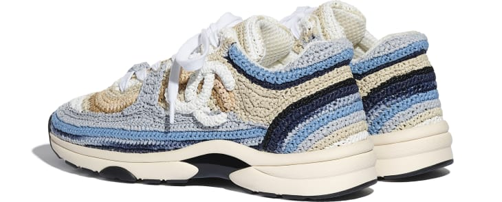 image 3 - Sneakers - Braided Raffia - Blue & Beige