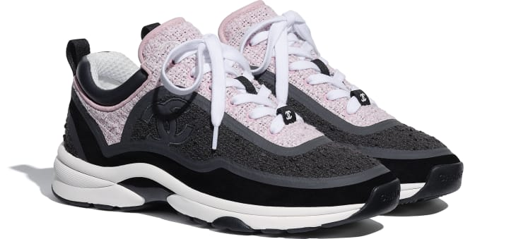 image 2 - Sneakers - Tweed & Suede Calfskin - Gray & Pink