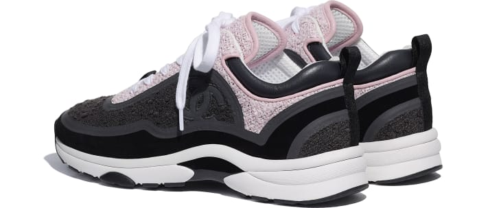 image 3 - Sneakers - Tweed & Suede Calfskin - Gray & Pink