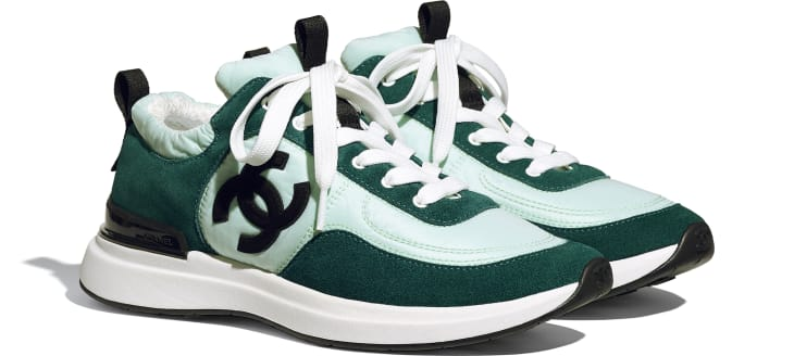 image 2 - Sneakers - Suede Calfskin & Nylon  - Light Green & Green