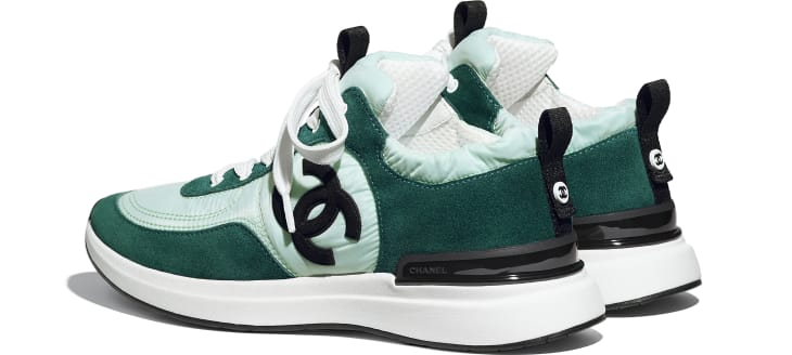 image 3 - Sneakers - Suede Calfskin & Nylon  - Light Green & Green