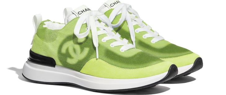 image 2 - Sneakers - Denim & Suede Calfskin - Neon Yellow