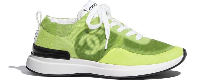 image 1 - Sneakers - Denim & Suede Calfskin - Neon Yellow