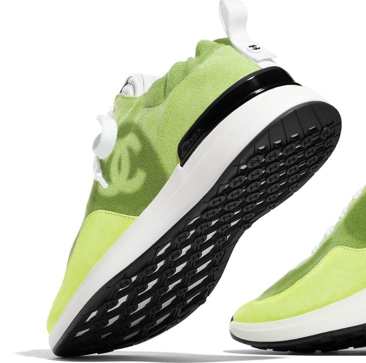 image 4 - Sneakers - Denim & Suede Calfskin - Neon Yellow