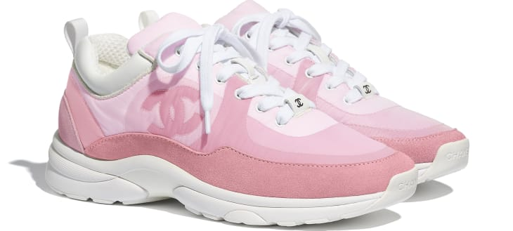 image 2 - Sneakers - Suede Calfskin & Nylon  - Pale Pink
