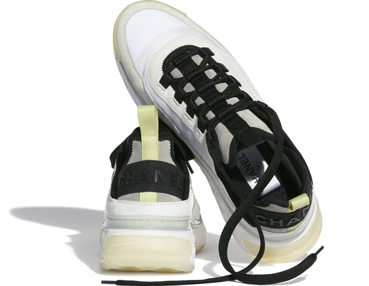 image 4 - Trainers - Suede Calfskin, Nylon & Grosgrain - White, Grey & Yellow