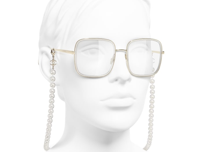 image 6 - Square Eyeglasses - Metal, Resin & Glass Pearls - Gold