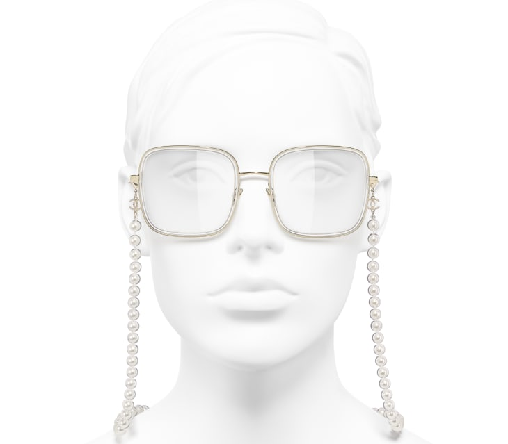 image 5 - Square Eyeglasses - Metal, Resin & Glass Pearls - Gold