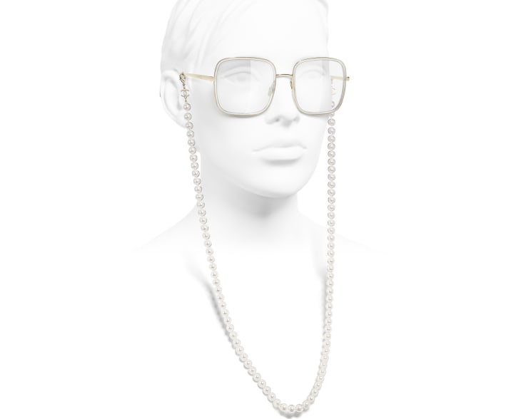 image 7 - Square Eyeglasses - Metal, Resin & Glass Pearls - Gold