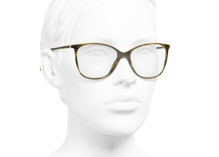 image 6 - Square Eyeglasses - Metal & Calfskin - Green Tortoise