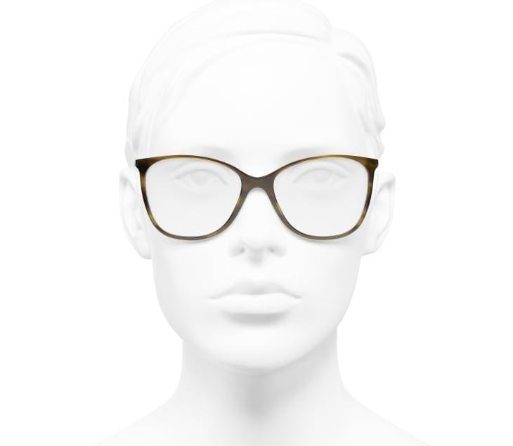 image 5 - Square Eyeglasses - Metal & Calfskin - Green Tortoise
