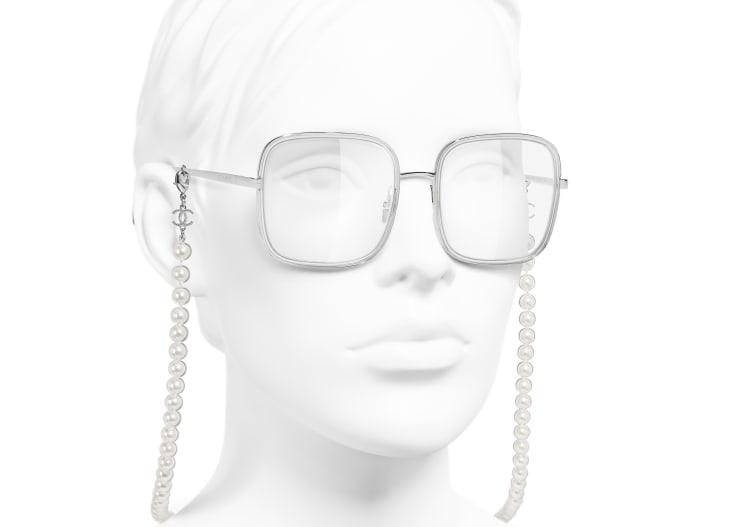 image 6 - Lunettes carrées - Métal, résine & perles de verre - Argenté