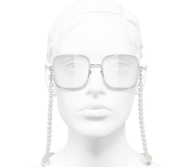 image 5 - Lunettes carrées - Métal, résine & perles de verre - Argenté