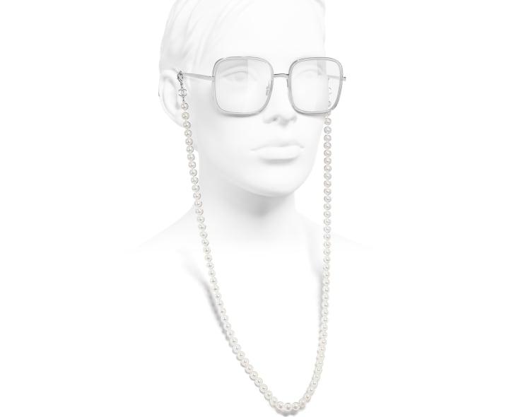 image 7 - Lunettes carrées - Métal, résine & perles de verre - Argenté