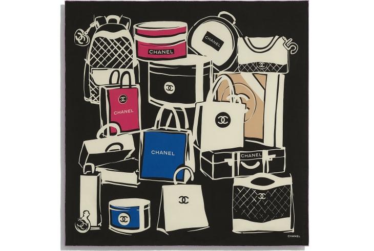 image 3 - スカーフ - シルク ツイル - ブラック、ブルー & ピンク