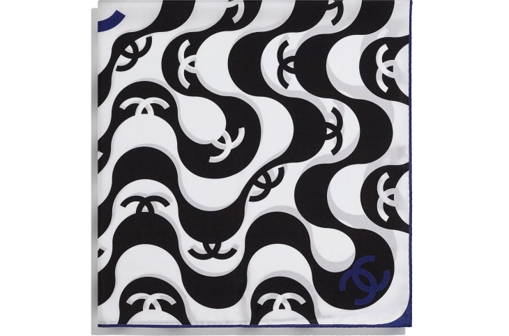 image 2 - Square Scarf - Silk Twill - Black & Blue