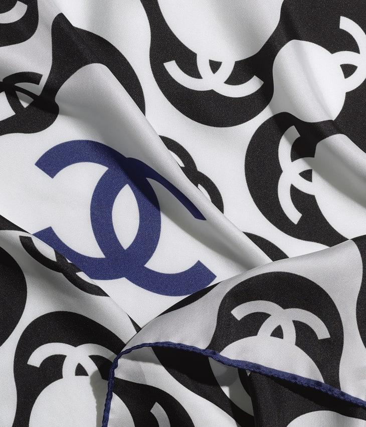 image 1 - スカーフ - シルク ツイル - ブラック & ブルー