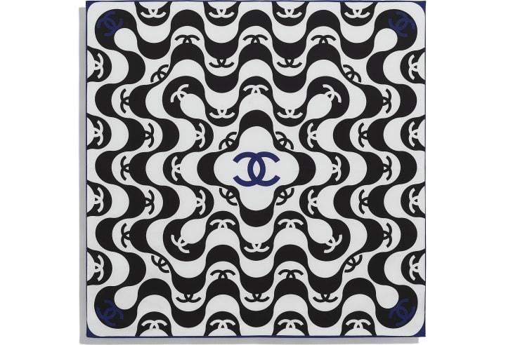 image 3 - スカーフ - シルク ツイル - ブラック & ブルー