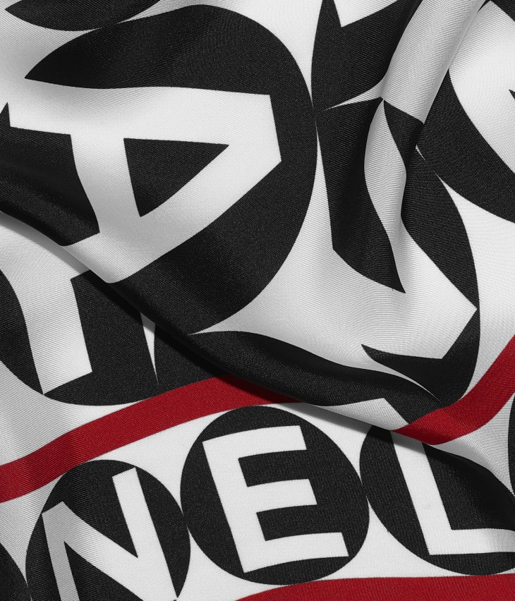 image 1 - Square Scarf - Silk Twill - Black, Red & White