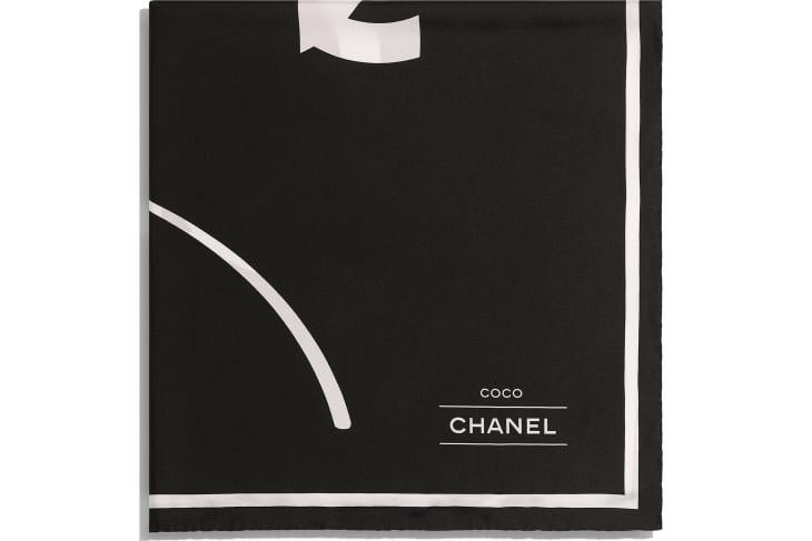 image 2 - Square Scarf - Silk Twill - Black