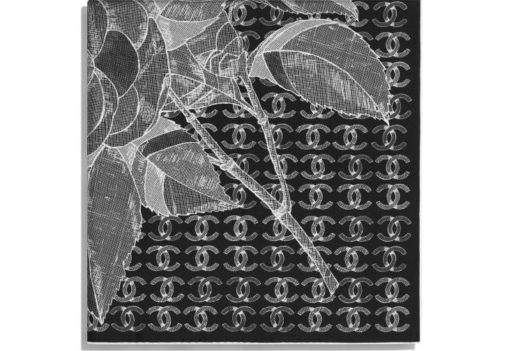 image 2 - Square Scarf - Silk Twill - Black & White