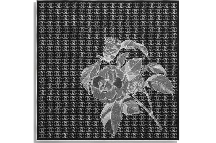 image 3 - Square Scarf - Silk Twill - Black & White