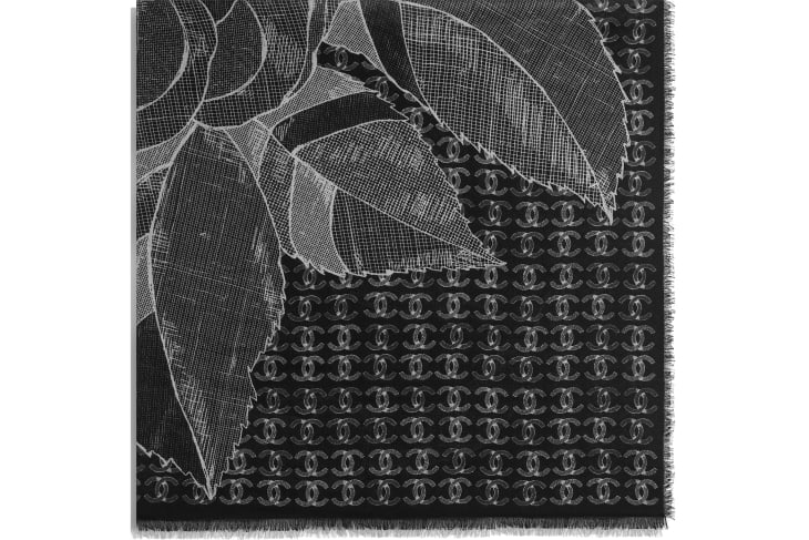 image 2 - Square Scarf - Wool & Cashmere - Black & White