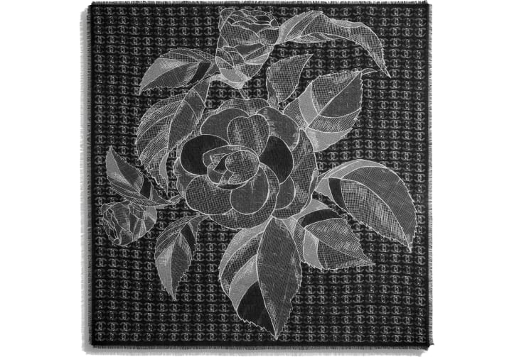 image 3 - Square Scarf - Wool & Cashmere - Black & White