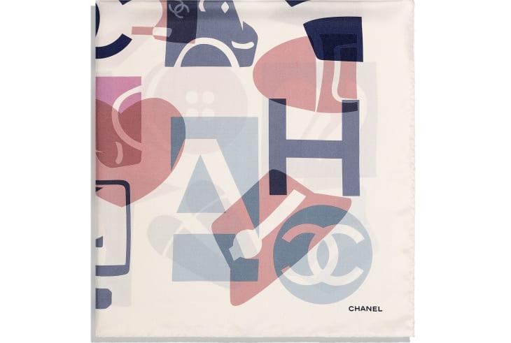 image 2 - Square Scarf - Silk Twill - Ecru, Beige & Gray