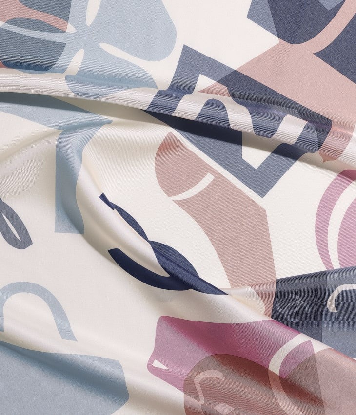 image 1 - Square Scarf - Silk Twill - Ecru, Beige & Gray