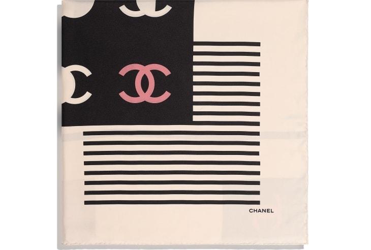 image 2 - Square Scarf - Silk Twill - Ecru, Black & Beige