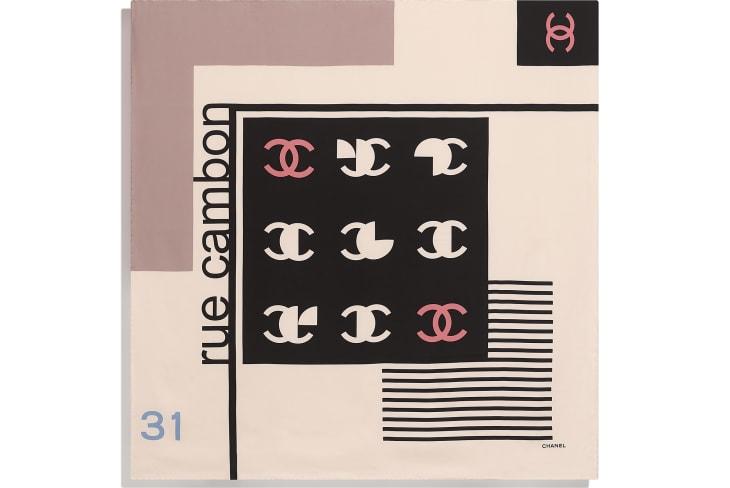 image 3 - Square Scarf - Silk Twill - Ecru, Black & Beige