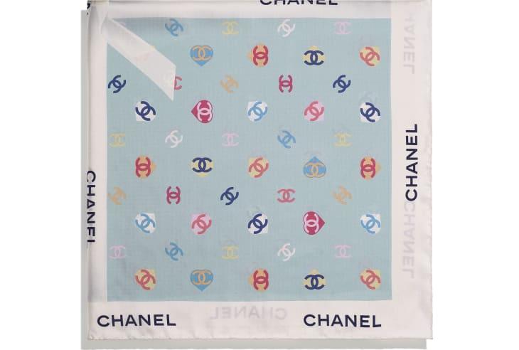 image 2 - スカーフ - シルク ツイル - エクリュ & ブルー