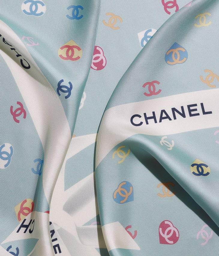 image 1 - スカーフ - シルク ツイル - エクリュ & ブルー