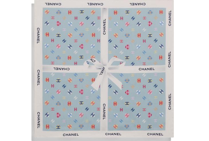 image 3 - スカーフ - シルク ツイル - エクリュ & ブルー