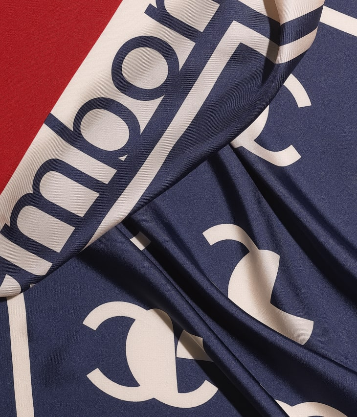 image 1 - Square Scarf - Silk Twill - Ecru, Navy Blue & Red