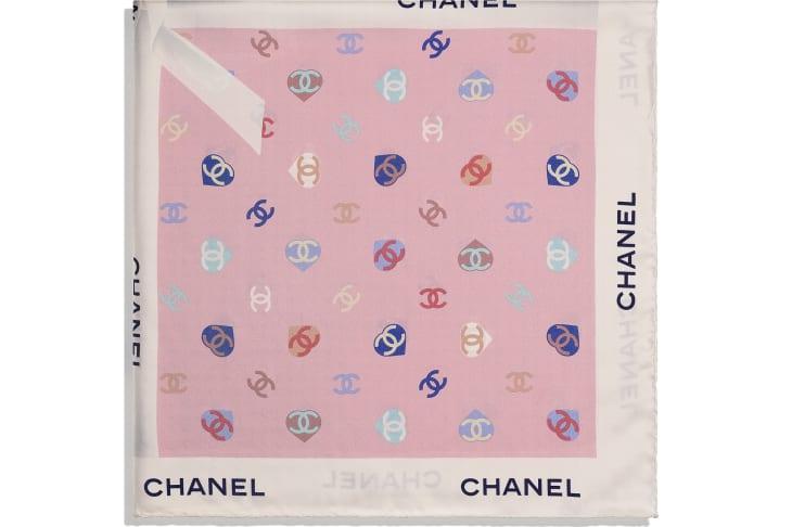 image 2 - Square Scarf - Silk Twill - Ecru & Pale Pink