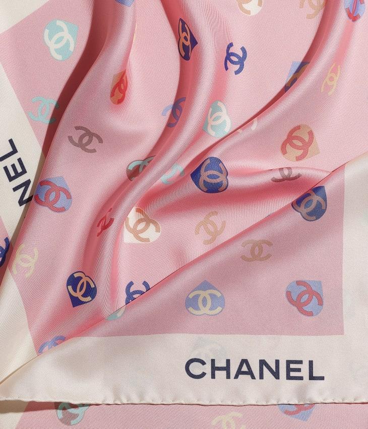 image 1 - Square Scarf - Silk Twill - Ecru & Pale Pink