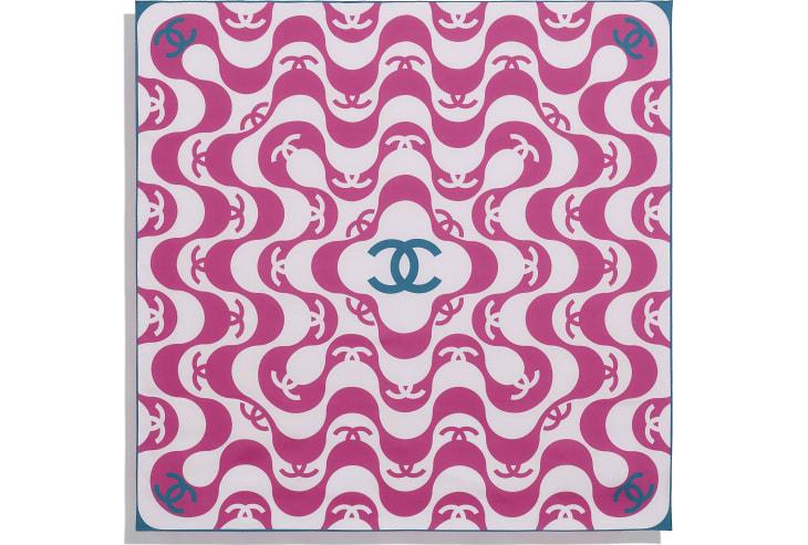 image 3 - スカーフ - シルク ツイル - フューシャ & ターコイズ