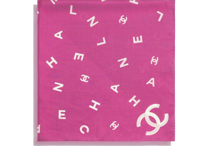 image 2 - Square Scarf - Silk Twill - Fuchsia & White