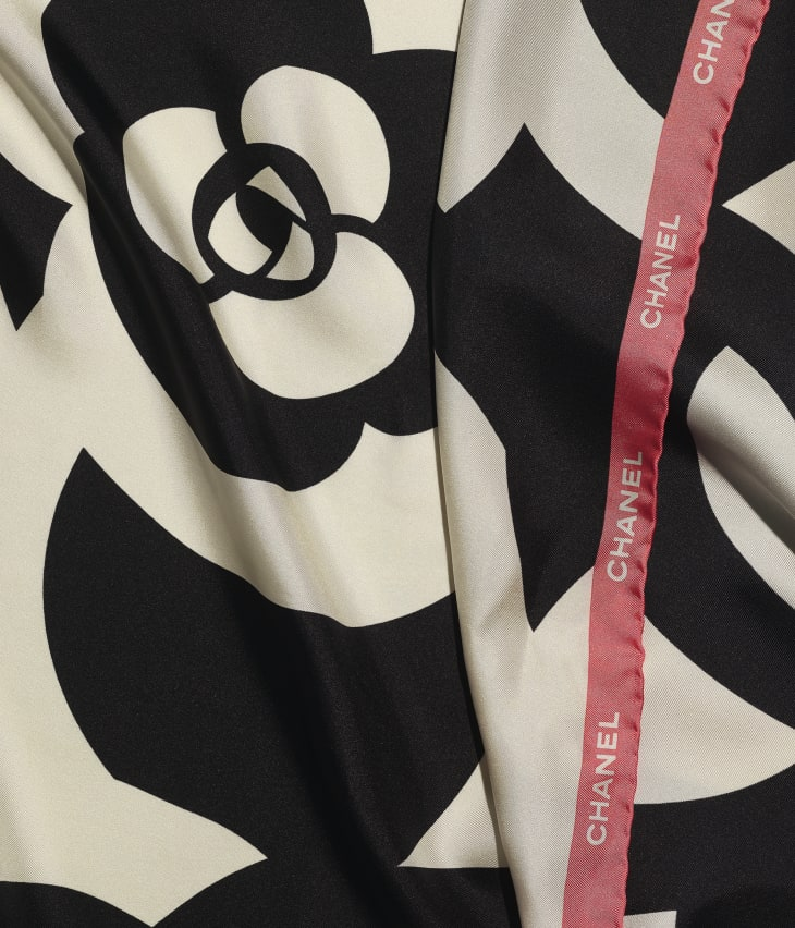 image 1 - Square Scarf - Silk Twill - Ivory, Black & Pink
