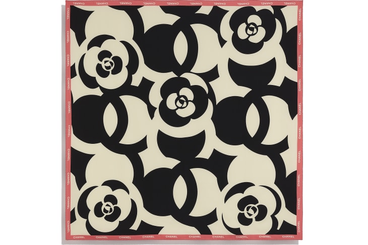 image 3 - Square Scarf - Silk Twill - Ivory, Black & Pink