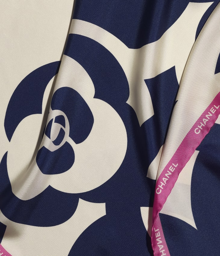 image 1 - Square Scarf - Silk Twill - Ivory, Navy Blue & Pink