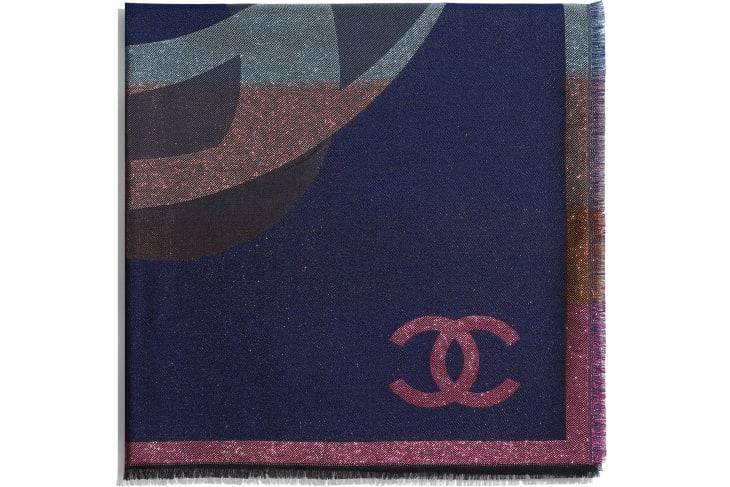 image 2 - Lenço Quadrado - Cashmere, Seda & Fibras Metálicas - Azul Marinho & Multicolorido