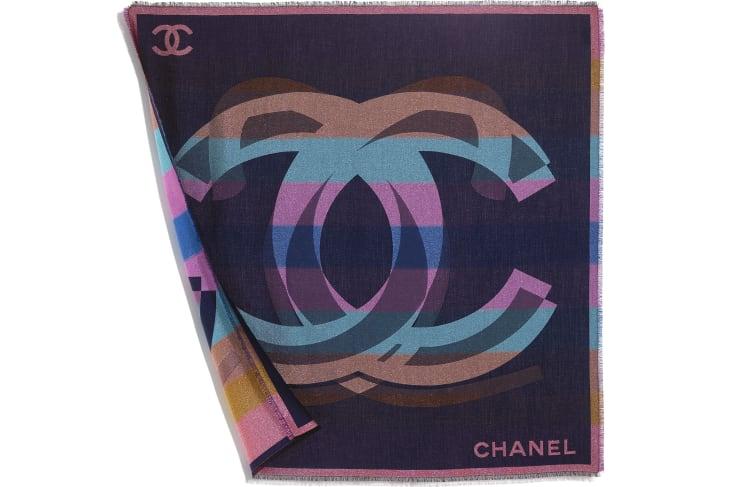 image 3 - Lenço Quadrado - Cashmere, Seda & Fibras Metálicas - Azul Marinho & Multicolorido