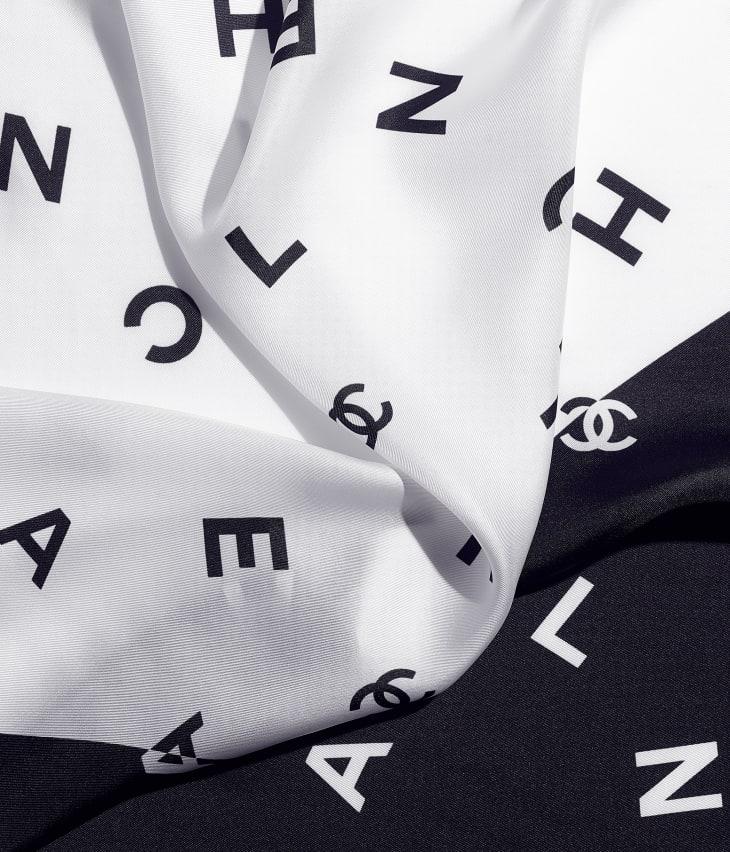 image 1 - スカーフ - シルク ツイル - ネイビーブルー & ホワイト