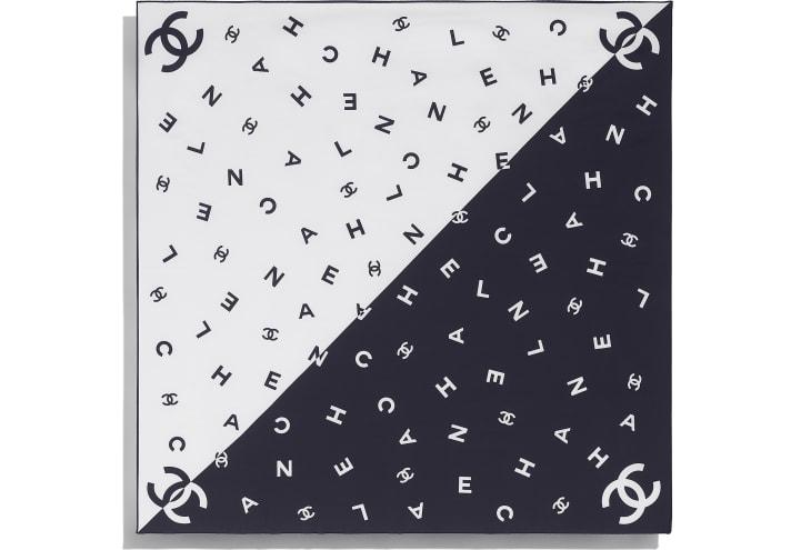 image 3 - スカーフ - シルク ツイル - ネイビーブルー & ホワイト
