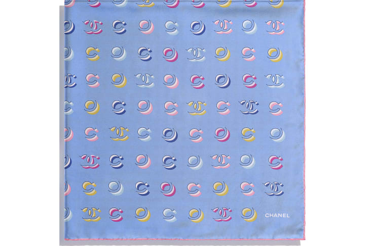 image 2 - Square Scarf - Silk Twill - Pale Pink & Blue