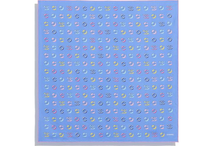 image 3 - スカーフ - シルク ツイル - ペールピンク & ブルー